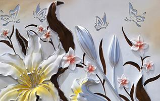 Объемные цветы с бабочками