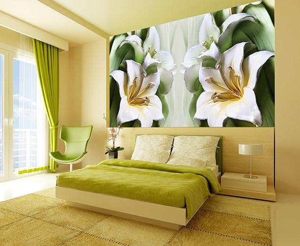 Зеленые лилии из керамики