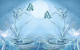 Объемные цветы из брызг с бабочками