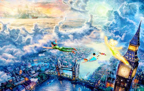 """3D Фотообои  """"Полет Питера Пэна над Лондоном"""""""