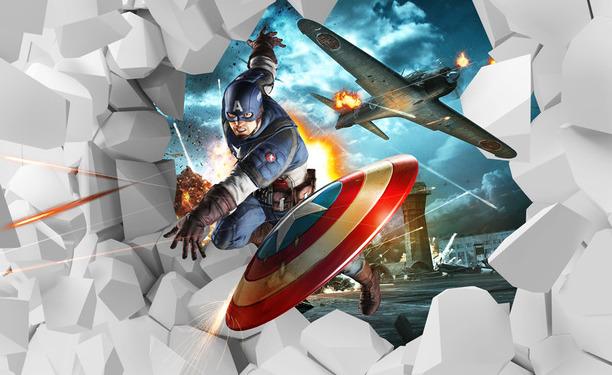 Детские 3D Фотообои Капитан Америка<br>kit: None; gender: None;