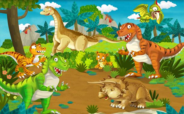 """Детские 3D Фотообои """"С динозаврами"""""""