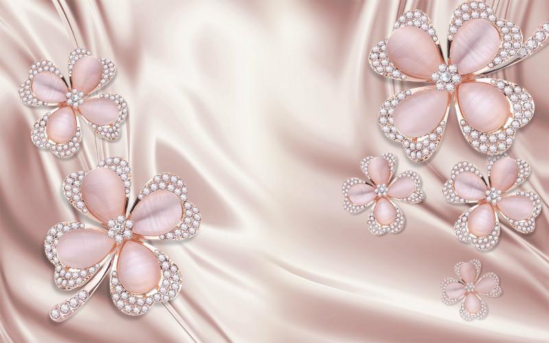 3D фотообои «Клевер с бриллиантами в нежно-розовых тонах» вид 1