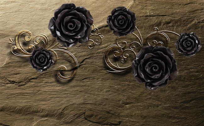 """3D Фотообои  """"Черные розы на камне"""""""