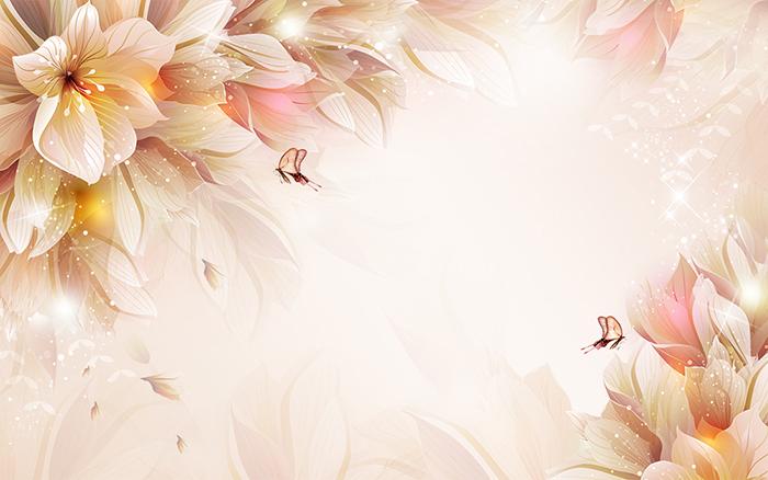 """3D Фотообои  """"Волшебные цветы с бабочками"""""""