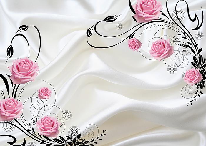 """3D Фотообои  """"Розы на шелке"""""""