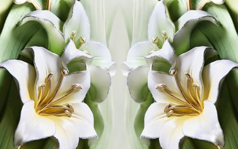 3D фотообои «Зеленые лилии из керамики» вид 1