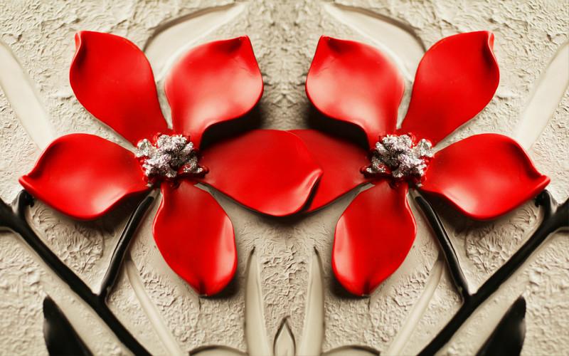 """3D Фотообои  """"Цветы на штукатурке"""""""
