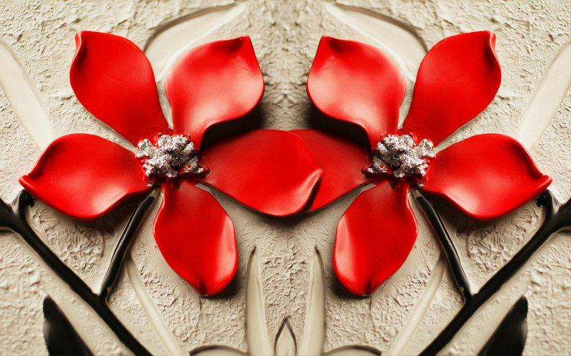 3D фотообои «Цветы на штукатурке» вид 1