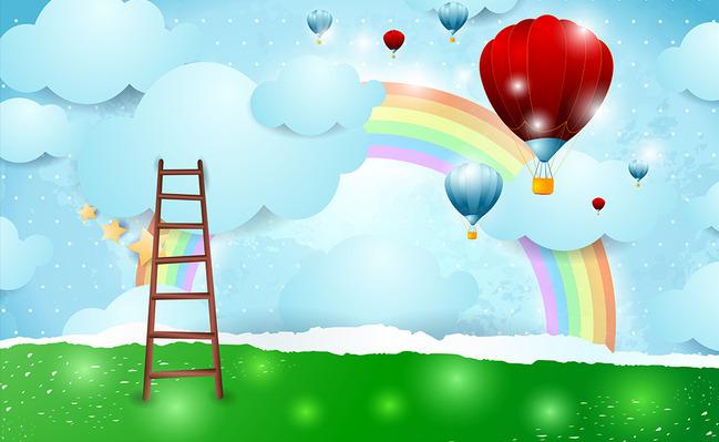 """Детские 3D Фотообои """"Лестница к радуге"""""""