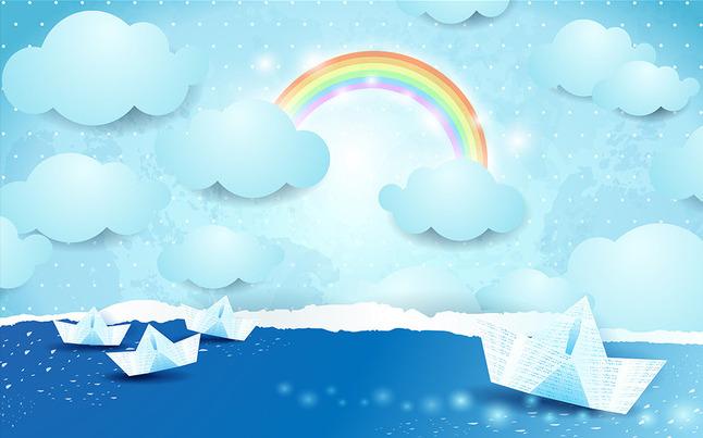 """Детские 3D Фотообои """"Радуга и бумажные кораблики на небе"""""""
