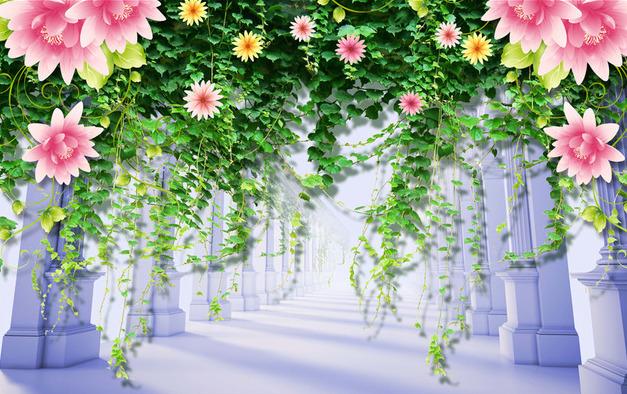 """Фотообои """"3D Фотообои  """"Колонны с цветами"""" """""""