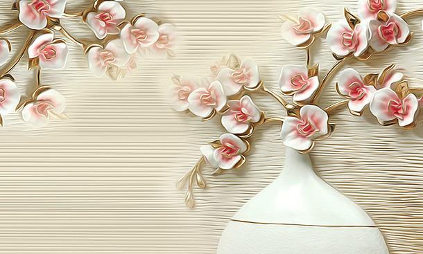 "3D Фотообои  ""Ваза с цветами на рельефном фоне"""