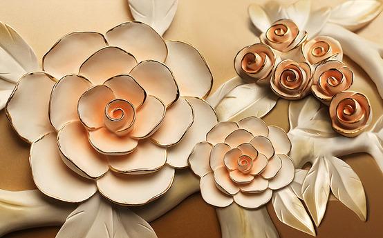 """3D Фотообои  """"Розы с тиснением под керамику"""""""