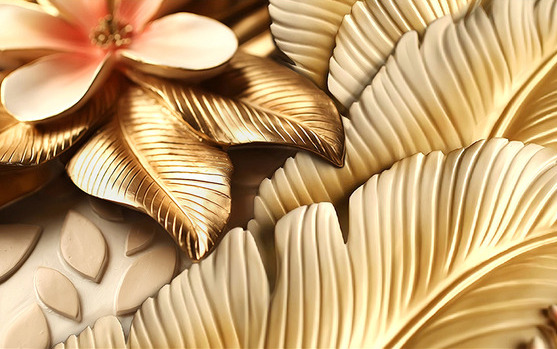 3D фотообои 3D Фотообои  «Бутон магнолии с оттиском золота»  вид 1
