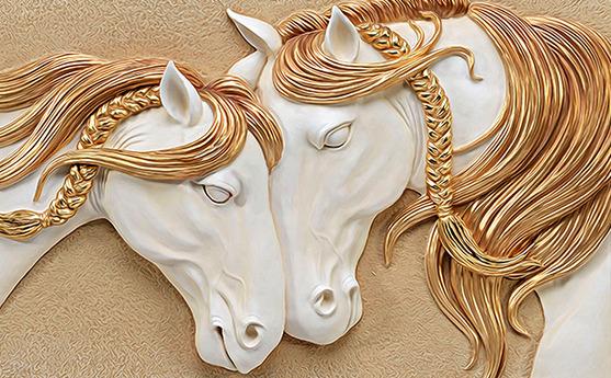 3D Фотообои  Лошади на рельефном фонеРисунок наполнен теплом и нежностью. Массивные очертания лошадей символизируют двух влюбленных – сильного и заботливого мужчину и робкую прекрасную женщину. Сочетание белого и золотого – это символ чистоты и теплоты, такое комбинирование цветов наполнит дом уютом и гармонией.<br>kit: None; gender: None;