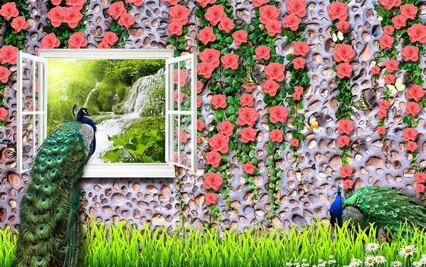 """3D Фотообои  """"Павлин на окне с видом водопада"""""""