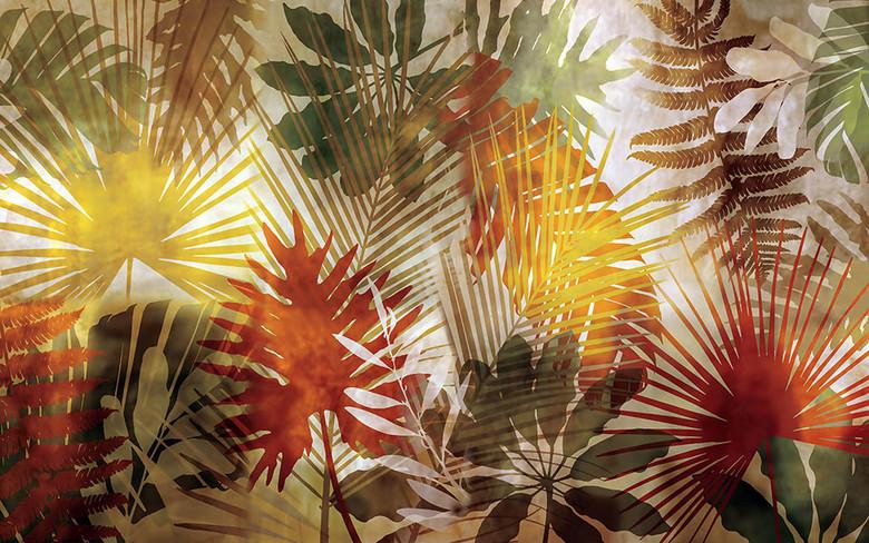 """3D Фотообои  """"Рельефная инсталляция с листьями пальмы"""""""