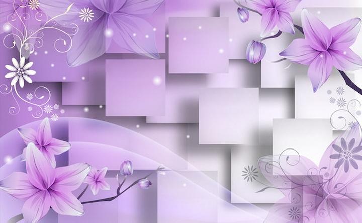 """3D Фотообои  """"Розовая объемная инсталляция с цветами"""""""
