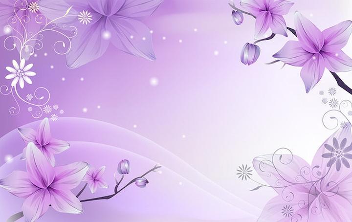 """3D Фотообои  """"Фиолетовая цветочная фантазия"""""""