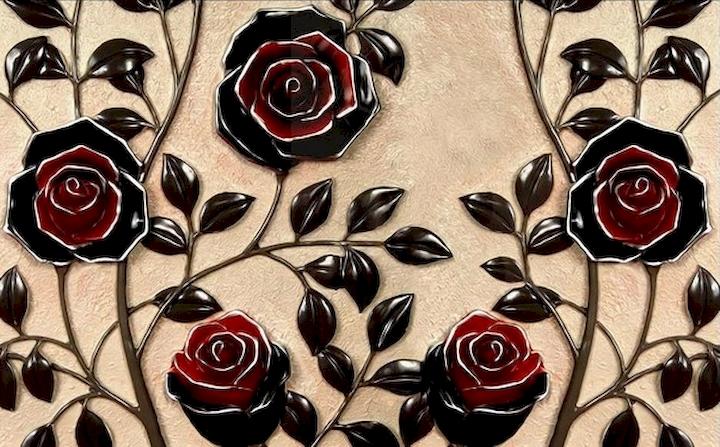 """3D фотообои """"Черные розы под керамику"""" вид 1"""