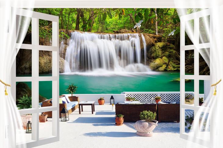 """3D Фотообои  """"Окно-балкон у водопада"""""""