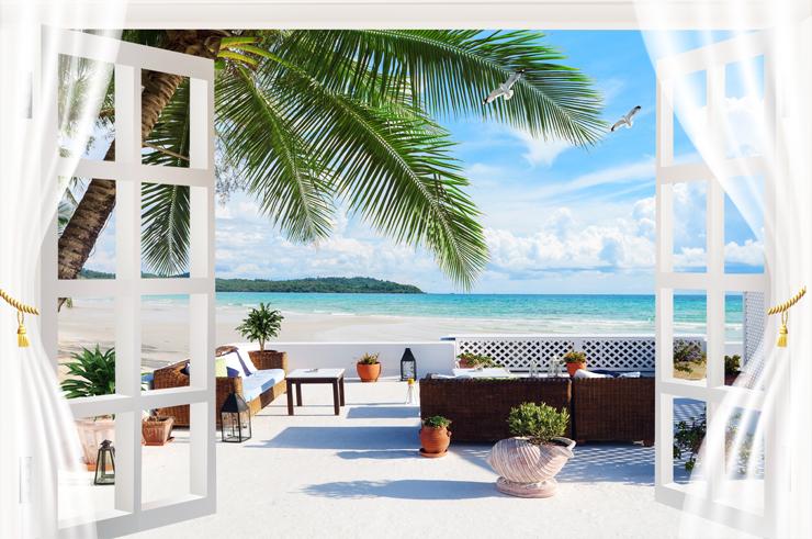 """3D Фотообои  """"Окно-балкон с видом на пляж"""""""