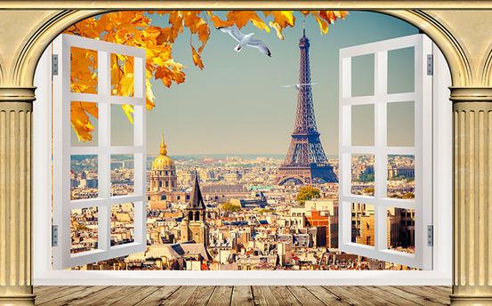 "3D Фотообои  ""Окно в Париж"""