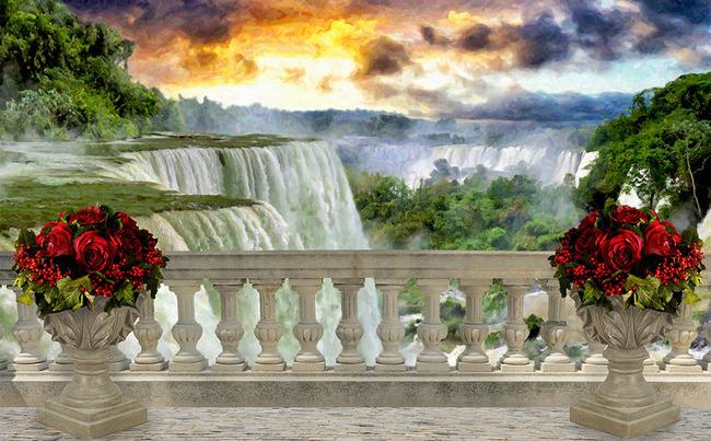 """3D Фотообои  """"Терраса у живописного водопада"""""""