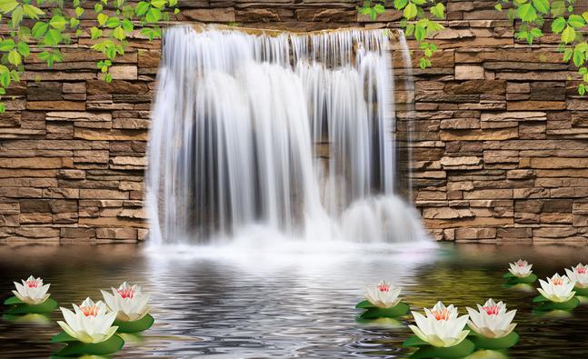 """3D Фотообои  """"Водопад с кувшинками"""""""