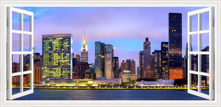 3D Фотообои  Манхеттен вид из окна<br>kit: None; gender: None;