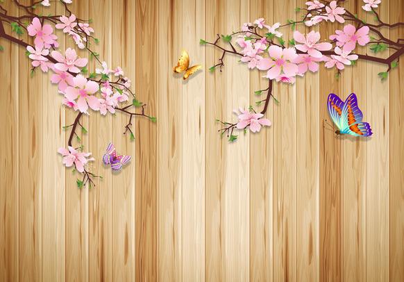 """3D Фотообои  """"Деревянный фон с ветвями сливы и бабочками"""""""
