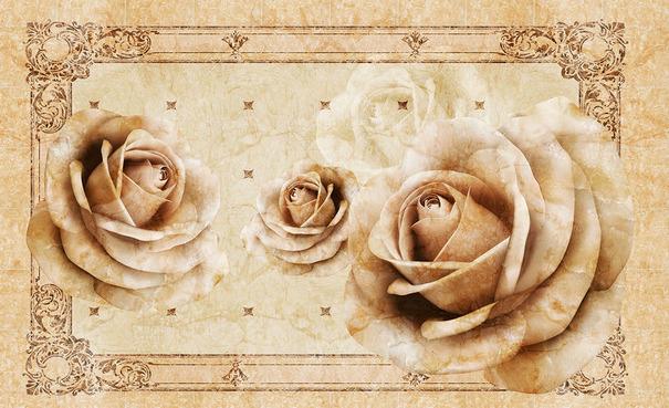 3D Фотообои  Винтажные бутоны роз на мраморе<br>kit: None; gender: None;