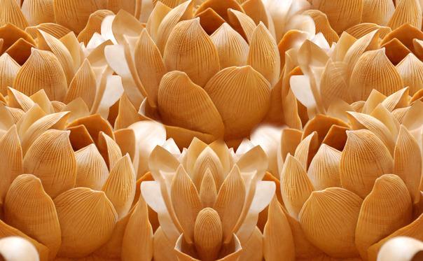 """3D Фотообои  """"Бутоны цветов резьба по дереву"""""""