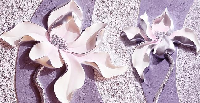 """3D фотообои """"Фиолетовые магнолии на рельефном фоне"""" вид 1"""