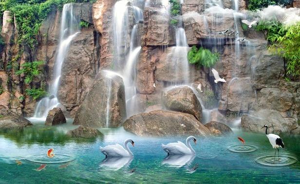 "3D Фотообои  ""Водопад с лебедями"""