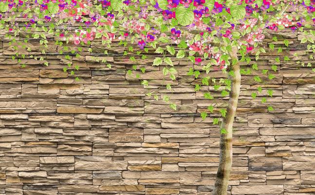 """3D Фотообои  """"Дерево на декоративном камне"""""""