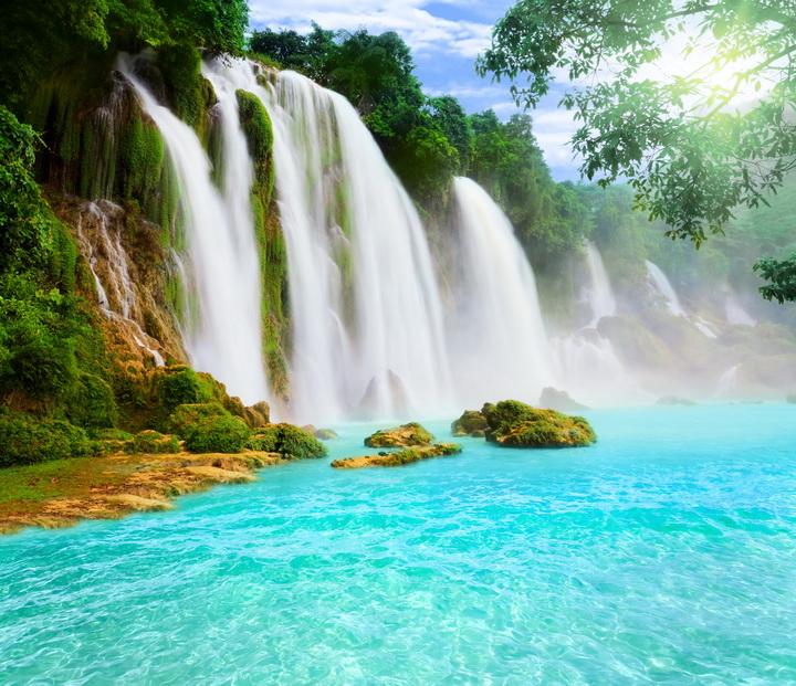 """3D Фотообои  """"Водопад с голубой водой"""""""