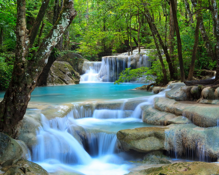 3D Фотообои  Водопад в зеленом лесу<br>kit: None; gender: None;