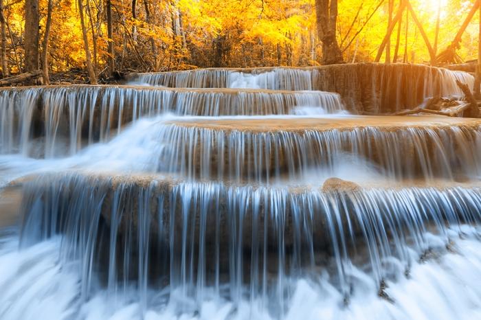 """Фотообои """"3D Фотообои  """"Водопад на рассвете"""""""""""