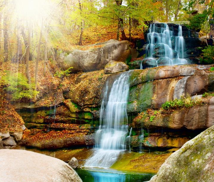 """Фотообои """"3D Фотообои  """"Водопад в осеннем лесу"""" """""""