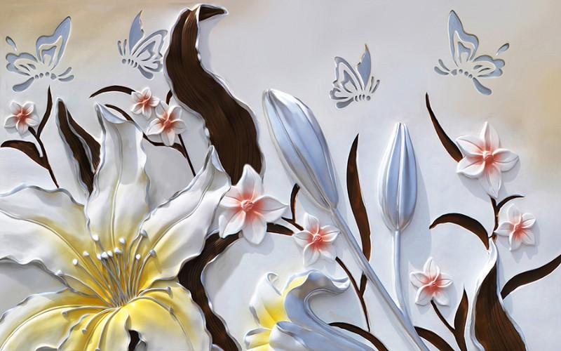 3D фотообои «Объемные цветы с бабочками» вид 1