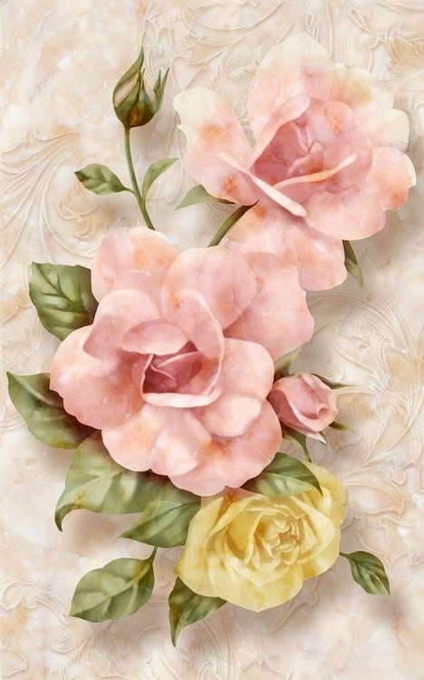 3D фотообои 3D Фотообои «Объемные розы под мрамор» вид 1