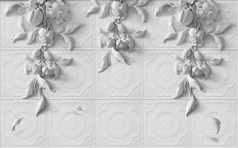 3D фотообои «Рельеф с ниспадающими цветами» вид 1