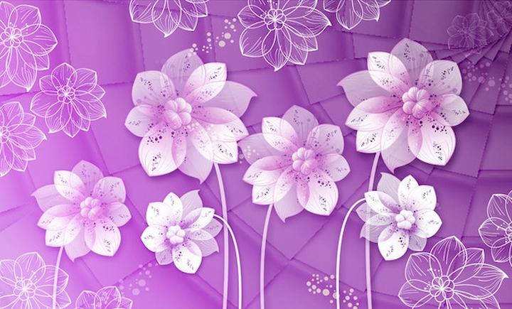 """3D Фотообои  """"Объемные цветы на фиолетовом фоне"""""""