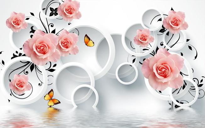 """3D Фотообои  """"Бутоны роз над водой"""""""