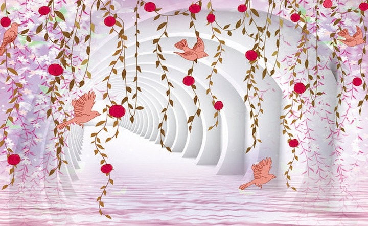 3D Фотообои  Объемные колонны с птицами и цветочными лианами<br>kit: None; gender: None;