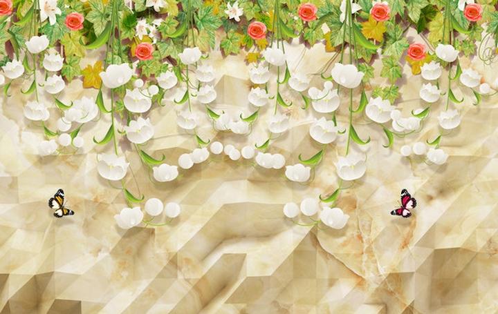 """3D Фотообои  """"Мраморная стена с цветочными лианами"""""""