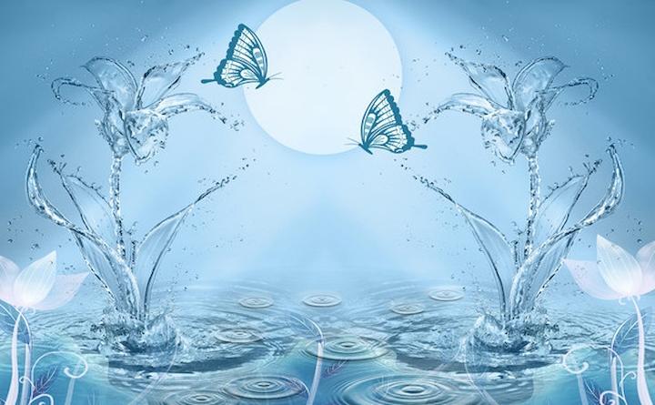 """3D Фотообои  """"Объемные цветы из брызг с бабочками"""""""