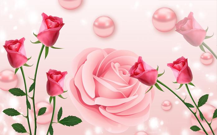 """3D Фотообои  """"Объемные розы с жемчугом"""""""